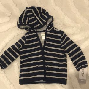 BRAND NEW CARTERS zip up striped hoodie